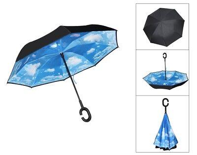 Windproof Rain Umbrella Inverted Reverse Double Layer Upside Down C-Handle PASS 5
