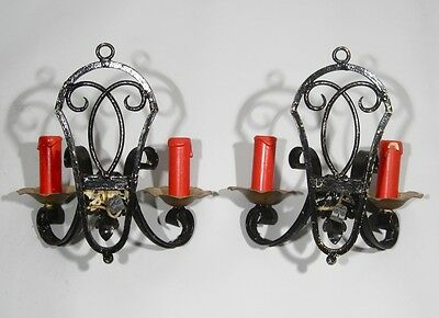 Pair of Vintage French Wrought Iron Sconces, 1920's 4