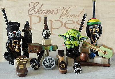 "Esquisite 4"" Hand Crafted Smoking Pipe Tobacco Premium Wood Pipe Medi pot 9"