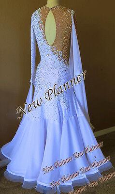 a832d79857 ... B4889 Ballroom Smooth Standard swing Waltz Quickstep US 12 Dance Dress  white 2