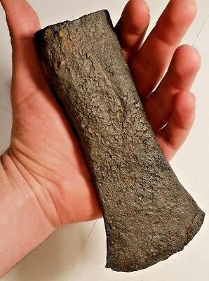 ANCIENT CELTIC IRON AXE HEAD / Big Size! 16 cm / Rare early weapon