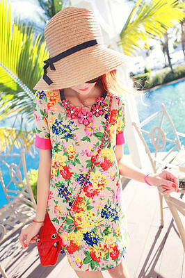 Floppy Foldable Ladies Women Straw Beach Sun Summer Hat Beige Wide Brim SumDLUK 5