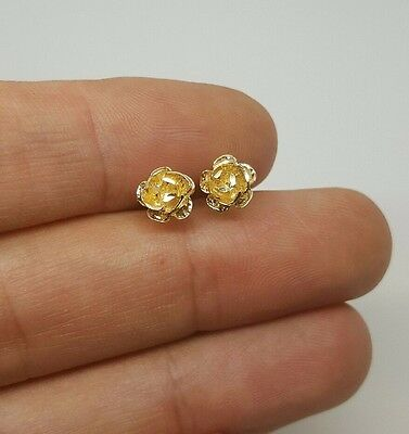 d5e0b5607 ... 14k Solid Yellow Gold Rose Flower Stud Earrings Women/Children Push Back  7 MM 10