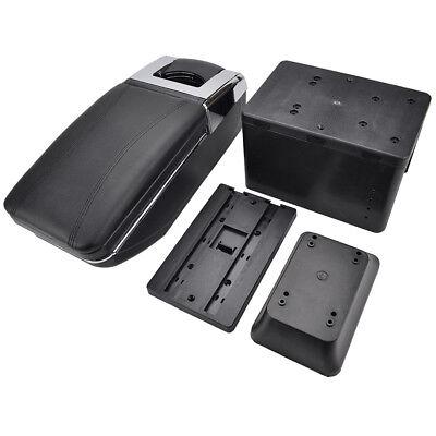 Car Armrest Storage Box PU Leather Rotatable Arm Rest Center Console 4