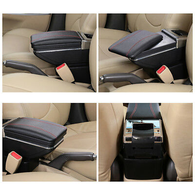 Car Armrest Storage Box PU Leather Rotatable Arm Rest Center Console 2