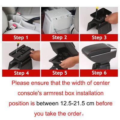 Car Armrest Storage Box PU Leather Rotatable Arm Rest Center Console 3