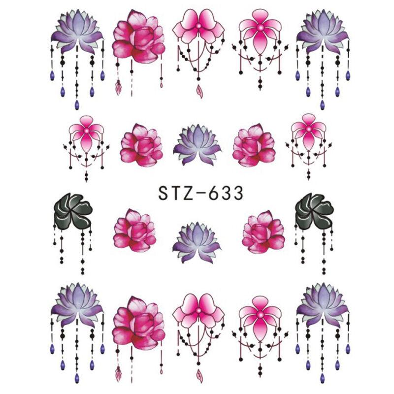 6 Sheet Water Transfer 3D Flower Design Manicure Nail Art Stickers Decals DIY 4