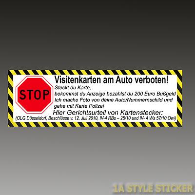 Stop Visitenkarten Verboten Aufkleber Auto Kartenstecker Olg
