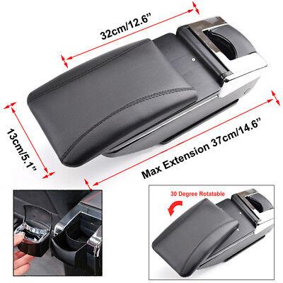 Car Armrest Storage Box PU Leather Rotatable Arm Rest Center Console 7