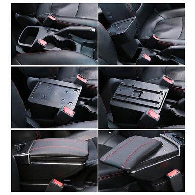 Car Armrest Storage Box PU Leather Rotatable Arm Rest Center Console 6