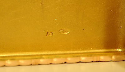 Amazing heavy antique imperial Russian gold (56) cigarette case with cabochon! 2