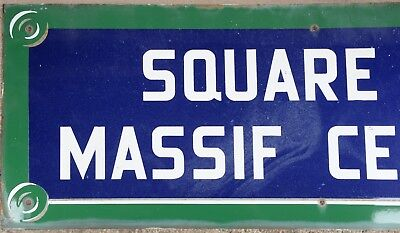 Giant old French enamel steel street sign road plaque name Massif Central Paris