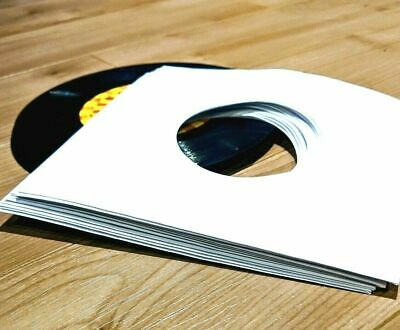 110 RECORD SLEEVES FOR 7″ VINYL - WHITE 100 GSM PAPER & CLEAR SLVS FOR 45RPM EPs 3