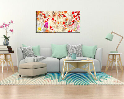 Wall Art Home Decor HD print oil painting on Canvas Feng Shui Fish Koi Painting 4