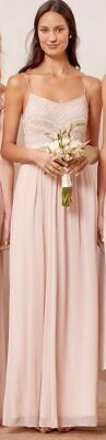 $397 Adrianna Papell Womens Gray Beaded Embellished Chiffon Gown Dress Size 6 5