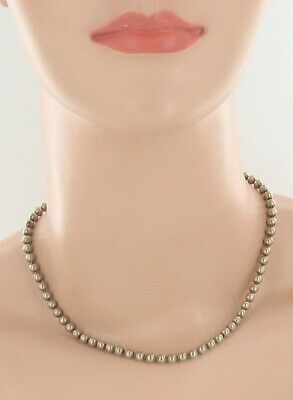 """Antique Sterling 4.5mm Balls Hand Made Choker Necklace Victorian 1800s 15""""Pretty 2"""