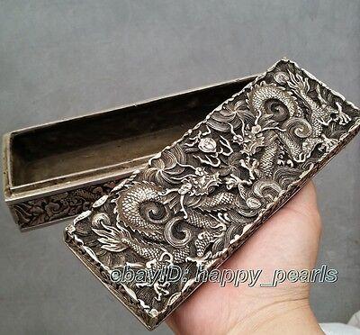China Qing dynasty Handwork Miao silver dragon statue Bank money jewelry Box 4