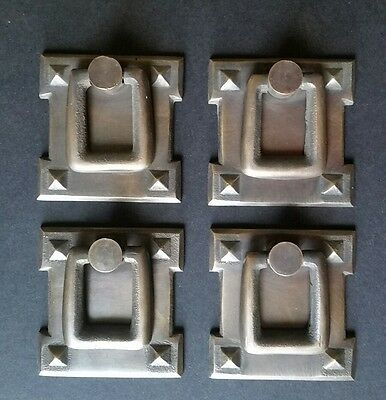 """4 Mission Stickley antique style brass vertical ring handles pulls 2 1/8"""" #H38"""