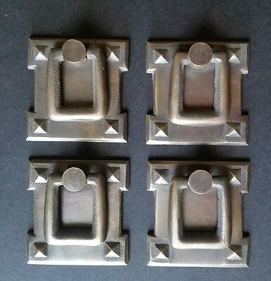"4 Square Mission Stickley Antique Style Brass Handles Ring Pulls 2 1/8"" #H38"