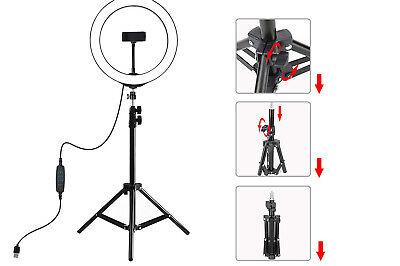 Anello luminoso con treppiede supporto cellulare selfie video trucco led 26cm 3