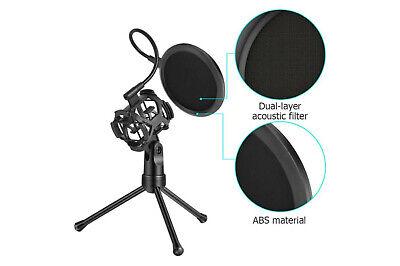 Microfono condensatore streaming con filtro cavo jack registrazione treppiede 3