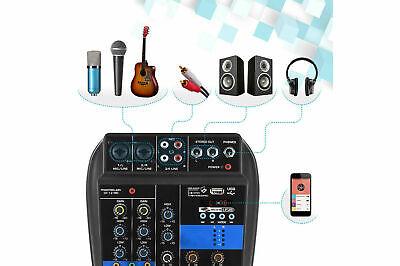 mixer audio BT consolle professionale 4 canali usb karaoke mic line mp3 aux rca 2