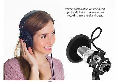 Microfono condensatore streaming con filtro cavo jack registrazione treppiede 2