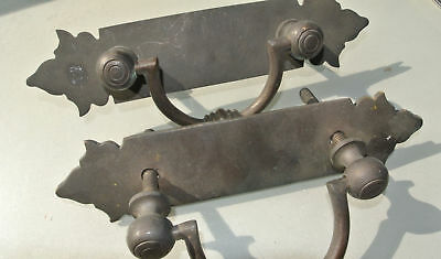 "2 used large BOX HANDLES vintage aged style solid Brass DOORS heavy 10 "" bolt 2"