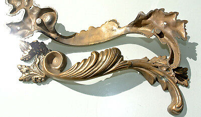 """2 large old look french style pulls handles solid brass vintage doors 11""""pair B 7"""