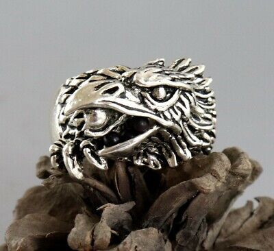 Collectable China Miao Silver Hand Carved Eagle Fashionable Decorate Unique Ring 6