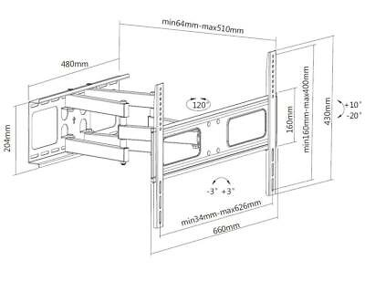 """37"""" -70"""" Steel LCD LED Plasma Flat Screen Tilt Full Motion TV Wall Mount Bracket 6"""