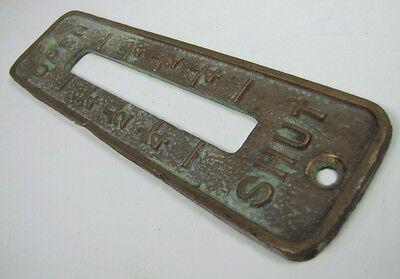 Old Brass Brnz OPEN SHUT Cover Plate Architectural Hardware elevator industrial 5