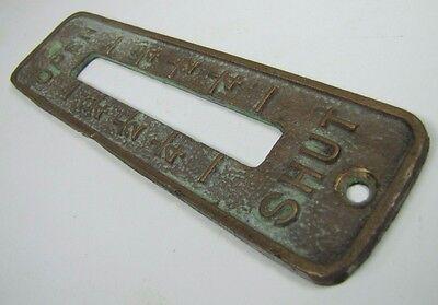 Old Brass Brnz OPEN SHUT Cover Plate Architectural Hardware elevator industrial 5