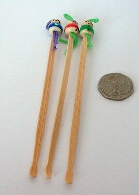 3 x Bamboo Doll Ear Wax Spoon Cleaner Pick Remover UK Seller