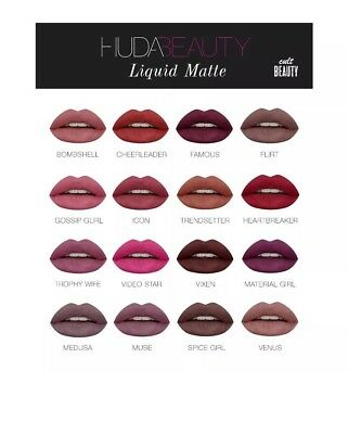 Huda BEAUTY LIQUID MATTE LIPSTICK FULL COLLECTION SET 16 SHADES GIFTS