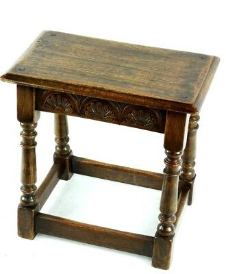 Antique English Carved Oak Joint Stool 19th C - FREE Shipping [PL4869] 2
