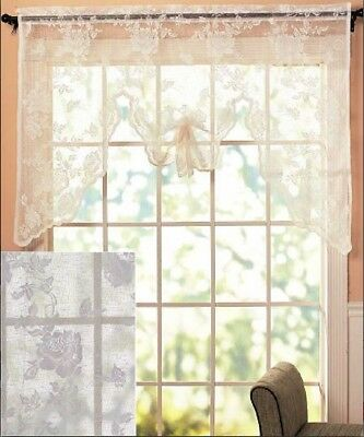 Vintage Lace Curtains Abbey Rose Swags or Panels Country Lace Window Treatments 5