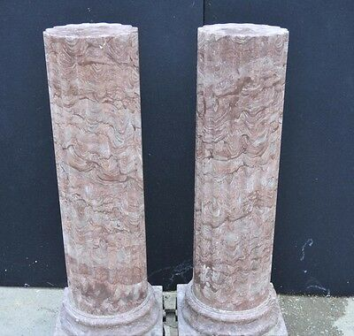 Pair Large Italian Tuscan Marble Column Pedestal Stands 8