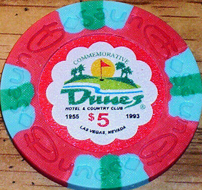 Lot 3 $5 THE DUNES Casino Poker Commemorative Chips House Mold Las Vegas NV 2
