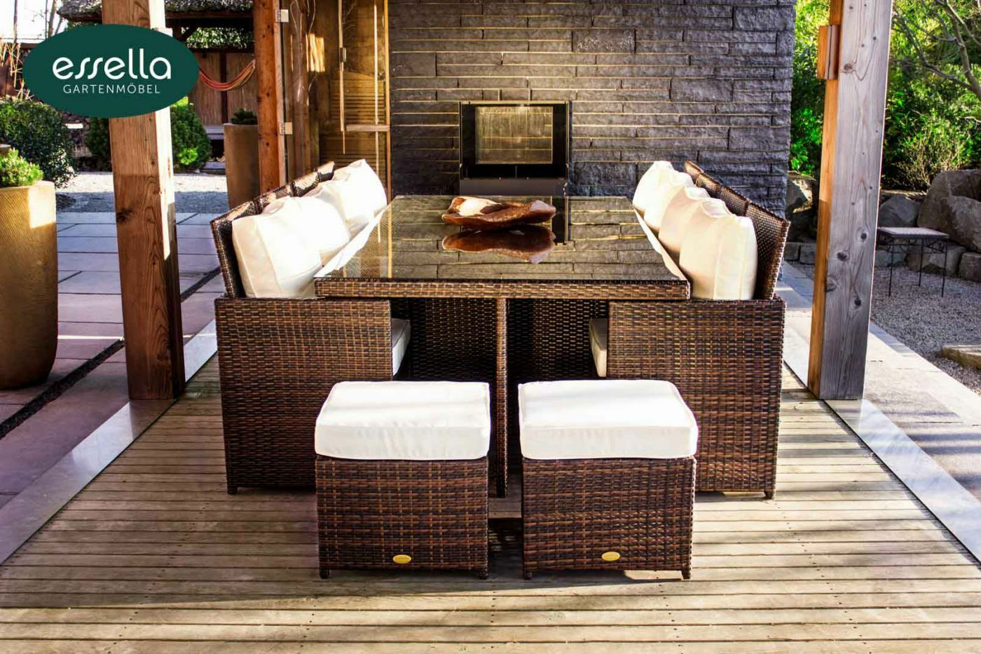 essella polyrattan sitzgruppe gartenm bel essgruppe rattan gartenset cube w rfel eur. Black Bedroom Furniture Sets. Home Design Ideas