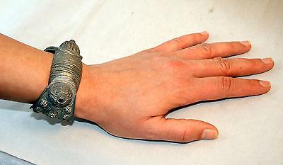 Antique Byzantine Medieval Silver Fertility Folk Art Hand Crafted Bracelet 11