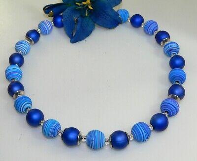 KETTE HALSKETTE FIMO Polymer Perle Spirale blautöne blau