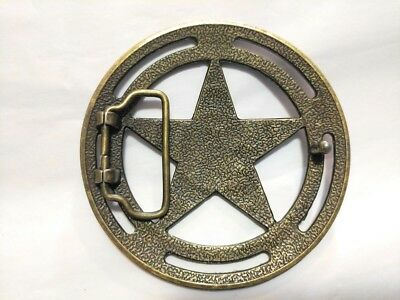 CHROME SILVER GOLD SHERIFF STAR COWBOY WILDWEST WESTERN FANCY DRESS BELT BUCKLE