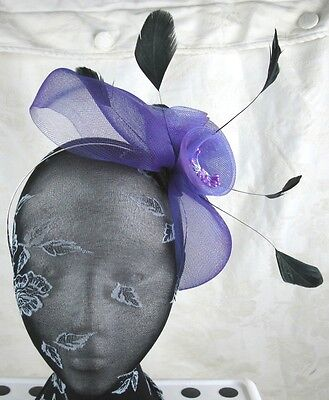 purple feather headband fascinator millinery wedding ascot hat hair piece 2