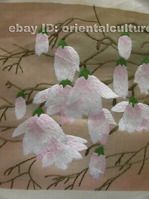 """Chinese 100% hand embroidered silk suzhou embroidery art:magnolia flower 8"""" 2"""
