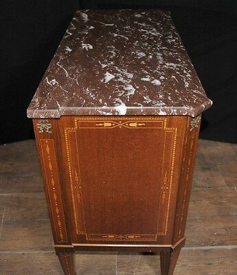 Antique French Empire Chest Drawers Commode Circa 1920 Marquetry Inlay 6