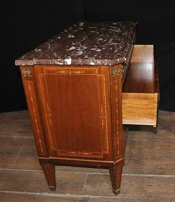 Antique French Empire Chest Drawers Commode Circa 1920 Marquetry Inlay 2
