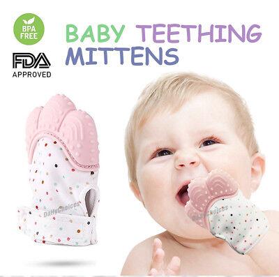 Silicone Baby Teether Teething Mitt Mitten Glove Safe BPA Free Chew Dummy Toy AU 2