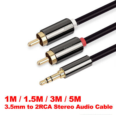 Premium Stereo Audio 3.5mm Aux Jack to 2 RCA M/M Y Cable Gold Plated 1m~5m au 2