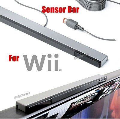 Wired Infrared Ray Sensor Bar/Receiver for Nintendo Wii U Black with Silver AU 2
